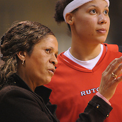 Feb 21, 2009; Piscataway, NJ, USA; Rutgers forward April Sykes (12) gets instructions from head coach C. Vivian Stringer during the second half of Rutgers' 55-42 victory over Providence at the Louis Brown Athletic Center.