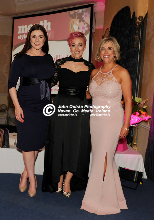 31-03-17. Meath Style Awards at the Headfort Arms Hotel, Kells.<br /> Most Stylish Person Award Presentation from left,<br /> RTE's Sile Seoige, Meath Style Awards Host. Mandy Walsh (Winner) and Sharon Carolan, Credit Union Plus (Sponsor of the award).<br /> Photo: John Quirke / www.quirke.ie<br /> ©John Quirke Photography, Unit 17, Blackcastle Shopping Cte. Navan. Co. Meath. 046-9079044 / 087-2579454.