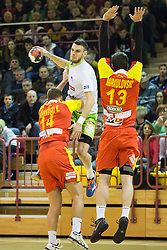 during friendly handball match between National Teams of Slovenia and F.Y.R. of Macedonia before EHF EURO 2016 in Poland on January 4, 2015 in Sports hall Krsko, Krsko, Slovenia. Photo by Urban Urbanc / Sportida
