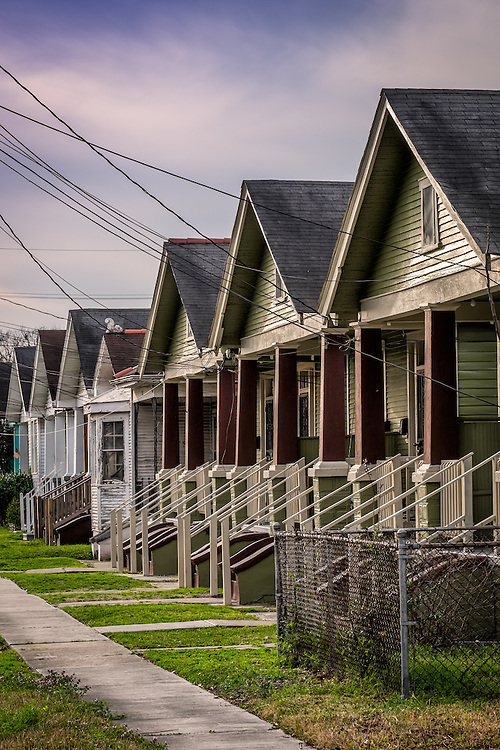 NEW ORLEANS - CIRCA FEBRUARY 2014: View of a typical street and houses in Algiers Point, a popular community within the city of New Orleans in Louisiana.