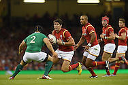 James Hook of Wales looks to go past  Ireland's Richardt Strauss. .Wales v Ireland rugby union international, RWC warm up friendly match at the Millennium Stadium in Cardiff, South Wales on Saturday 8th August  2015.<br /> pic by Andrew Orchard, Andrew Orchard sports photography.