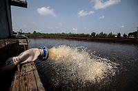 Wasilkow, woj. podlaskie, 14.07.2021. Przyducha ryb na rzece Suprasl. Strazacy z OSP prowadza akcje natleniania wody, po tym, jak z rzeki Suprasl w ciagu kilku dni wylowiono ponad dwie tony snietych ryb. Przyduche, czyli brak tlenu w wodzie, spowodowala fala upalow oraz splywajace, wraz z deszczem do rzeki, substancje organiczne, m.in nawozy rolnicze. N/z akcja natleniania wody na zalewie na rzece Suprasl fot Michal Kosc / AGENCJA WSCHOD