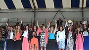 Henley on Thames. United Kingdom. Winners of The Remenham Challenge Cup<br /> Leander Club and Oxford Brookes University  left to Right.  Beth RODFORD, Melanie WILSON, Sarah COWBURN, [Louisa REEVE], Katie GREVES, Zoe LEE, Jess EDDIE, Olivia CARNEGIE-BROWN and Cox Zoe DE TOLEDO.  2013 Henley Royal Regatta, Henley Reach. 16:57:04  Sunday  07/07/2013  [Mandatory Credit; Peter Spurrier/ Intersport Images]