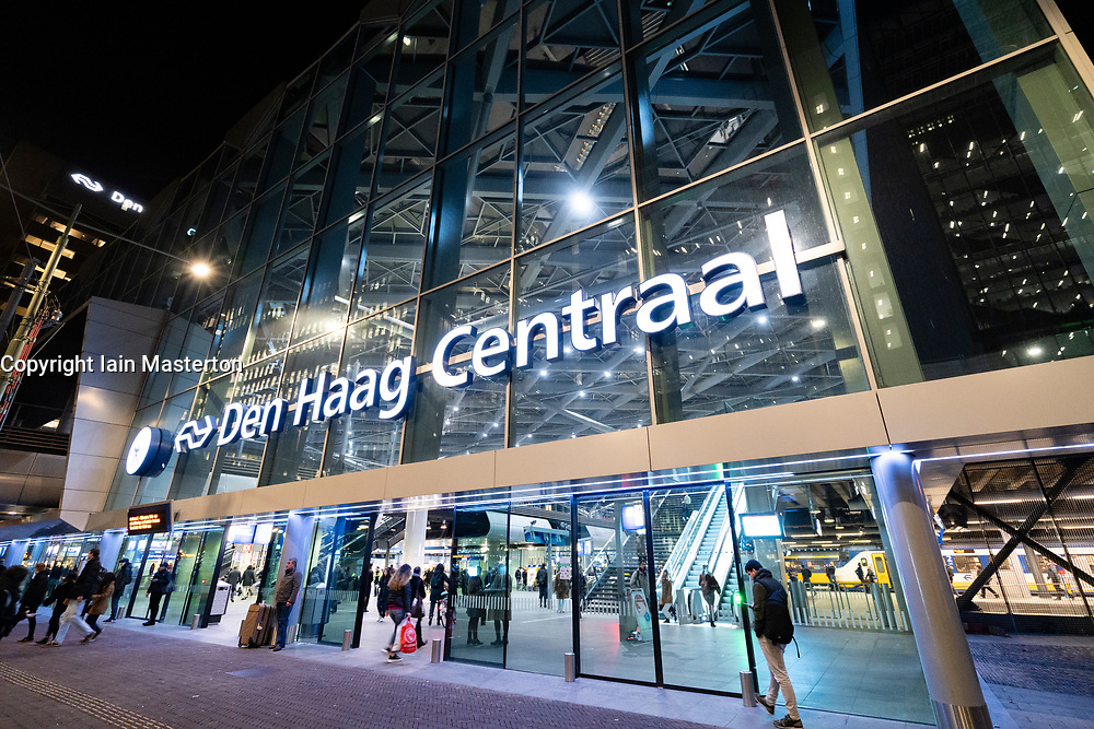 Exterior of new Den Haag Centraal Station at night in The Hague, The Netherlands