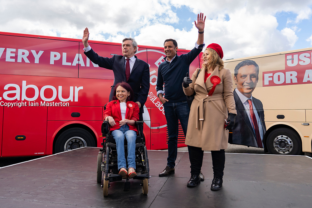 Glasgow, Scotland, UK. 5 May 2021. Scottish Labour Leader Anas Sarwar and former Prime Minister Gordon Brown appear at an eve of polls drive-in campaign rally in Glasgow today.  Iain Masterton/Alamy Live News