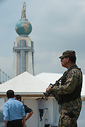 Elite corps of Salvadoran military watch over the Plaza Salvador Del Mundo as El Salvador prepares for the beatification ceremony and mass announcing the beatification of Archbishop Oscar Romero. The Archbishop was slain at the alter of his Church of the Divine Providence by a right wing gunman in 1980. Oscar Arnulfo Romero y Galdamez became the fourth Archbishop of San Salvador, succeeding Luis Chavez, and spoke out against poverty, social injustice, assassinations and torture. Romero was assassinated while offering Mass on March 24, 1980.
