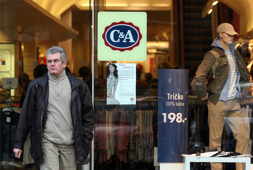 The German textile producers C&A branch located at the Prague Wenceslas Square in Czech Republic.