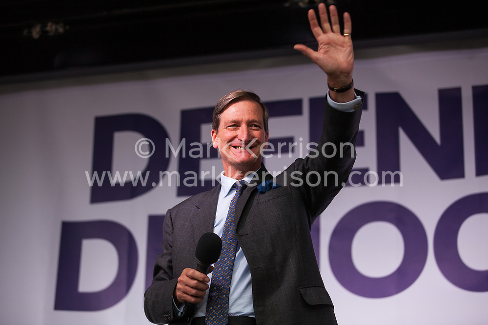 London, UK. 4 September, 2019. Dominic Grieve, Conservative MP for Beaconsfield, addresses Remain supporters at a Defend Our Democracy rally in Parliament Square shortly after MPs passed the Brexit delay bill in the House of Commons.
