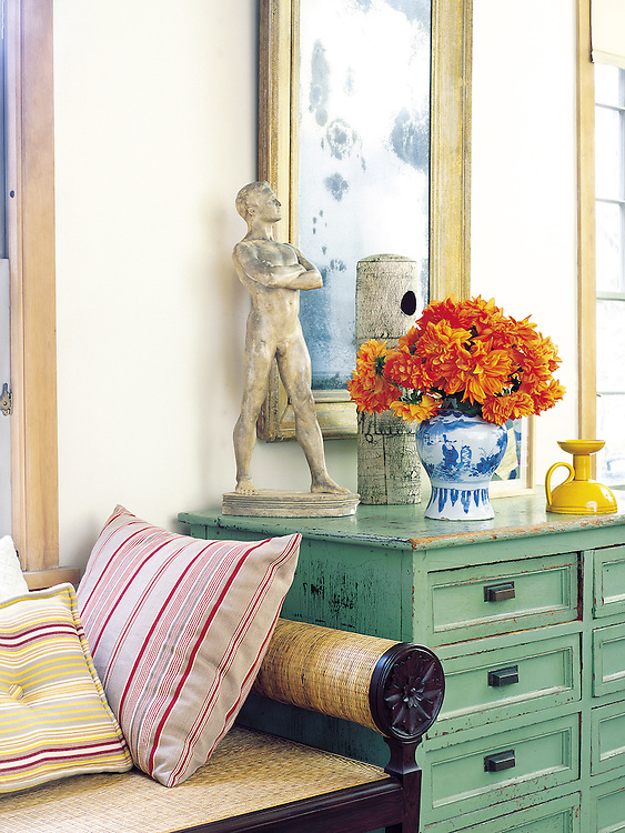 decorated detail of living room with side table