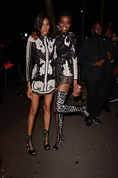 Cindy Bruna and Maria Borges attending L'Oreal Paris X Balmain party at Ecole de Medecine during Paris Fashion Week Spring Summer 2018 held in Paris, France on September 28, 2017. Photo by Julien Reynaud/APS-Medias/ABACAPRESS.COM