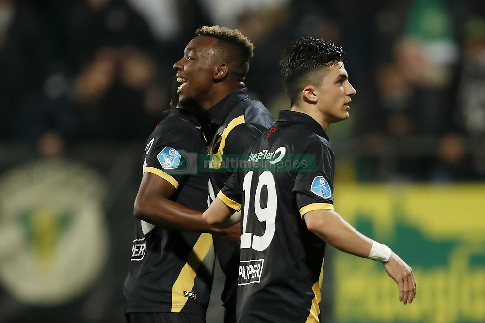 (L-R) Thomas Agyepong of NAC Breda, Thierry Ambrose of NAC Breda, Manu Garcia of NAC Breda during the Dutch Eredivisie match between ADO Den Haag and NAC Breda at Cars Jeans stadium on March 10, 2018 in The Hague, The Netherlands