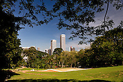 View of Singapore's central business district from Fort Canning Green. Singapore