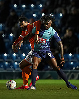 Blackpool's Joe Nuttall vies for possession with  Wycombe Wanderers' Anthony Stewart<br /> <br /> Photographer Lee Parker/CameraSport<br /> <br /> The EFL Sky Bet League One - Wycombe Wanderers v Blackpool - Tuesday 28th January 2020 - Adams Park - Wycombe<br /> <br /> World Copyright © 2020 CameraSport. All rights reserved. 43 Linden Ave. Countesthorpe. Leicester. England. LE8 5PG - Tel: +44 (0) 116 277 4147 - admin@camerasport.com - www.camerasport.com