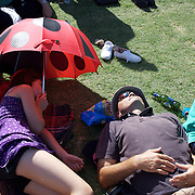 'A Day at the Polo'<br /> Spectators sleep during the International Polo Test match between Australia and England at the Windsor Polo Club, Richmond, Sydney, Australia on March 29, 2009. Australia won the match 8-7.  Photo Tim Clayton