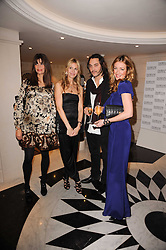 Left to right, LISA BILTON, MELISSA ODABASH, CAT DEELEY and JACK HUSTON at a dinner hosted by jewellers Damiani at The Connaught Hotel, London on 3rd February 2010.