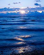 Sunrise over Lake Erie from the shore of Kellys Island, Ohio.