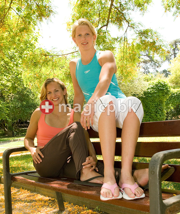 Lisbeth (Libby) LENTON (L) and Leisel JONES (R) of Australia pose in a park during a photo shooting for Speedo beachwear in Barcelona, Spain, Monday, June 12, 2006. (Photo by Patrick B. Kraemer / MAGICPBK)