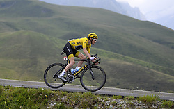 July 25, 2018 - Saint Lary Soulan, France - GERAINT THOMAS Geraint (GBR) of Team SKY during stage 17 of the 105th edition of the 2018 Tour de France cycling race, a stage of 65 kms between Bagneres-de-Luchon and Saint-Lary-Soulan Col Du Portet on July 25, 2018 in Saint-Lary-Soulan Col Du Portet, France. (Credit Image: © Panoramic via ZUMA Press)