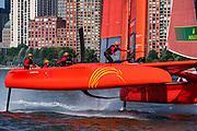 SailGP Team China helmed by Phil Robertson rounding the top mark in race one. Race Day 1 Event 3 Season 1 SailGP event in New York City, New York, United States. 21 June 2019. Photo: Chris Cameron for SailGP. Handout image supplied by SailGP