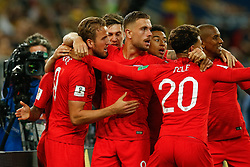 July 3, 2018 - Moscou, Rússia - MOSCOU, MO - 03.07.2018: COLOMBIA VS ENGLAND - Harry Kane of England celebrates after scoring a goal during a match between Colombia and England, which is valid for the eighth finals of the 2018 World Cup finals, held at the Otkrytie Arena in Moscow, Russia. (Credit Image: © Marcelo Machado De Melo/Fotoarena via ZUMA Press)