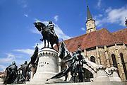 Cluj-Napoca, Romania. Statue of Matthias Corvinus in front of St. Michael's Church