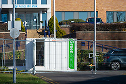 © Licensed to London News Pictures. 08/02/2020. Milton Keynes, UK. A temporary gate installed at the entrance to the Kents Hill Park Training and Conference Centre. A Milton Keynes conference centre is to house evacuees from the Chinese city of Wuhan, the epicentre of the Novel Coronavirus (2019-nCoV) outbreak, the British citizens are due to be flown back on Sunday 9th February and are expected to land at RAF Brize Norton in Oxfordshire and will remain at the conference centre for 14 days to be monitored. Photo credit: Peter Manning/LNP