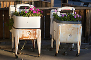 """12 March 2012-Santa Barbara, CA:  """"Mr & Mrs Washer"""" on display outside the Midway Appliance Parts store in Santa Barbara, CA."""