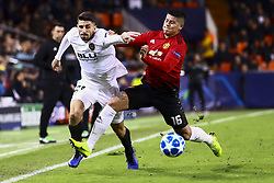 December 12, 2018 - Valencia, Spain - Piccini of Valencia CF (L) and Marcos Rojo of Manchester United    during UEFA Champions League Group H between Valencia CF and Manchester United at Mestalla stadium  on December 12, 2018. (Photo by Jose Miguel Fernandez/NurPhoto) (Credit Image: © Jose Miguel Fernandez/NurPhoto via ZUMA Press)