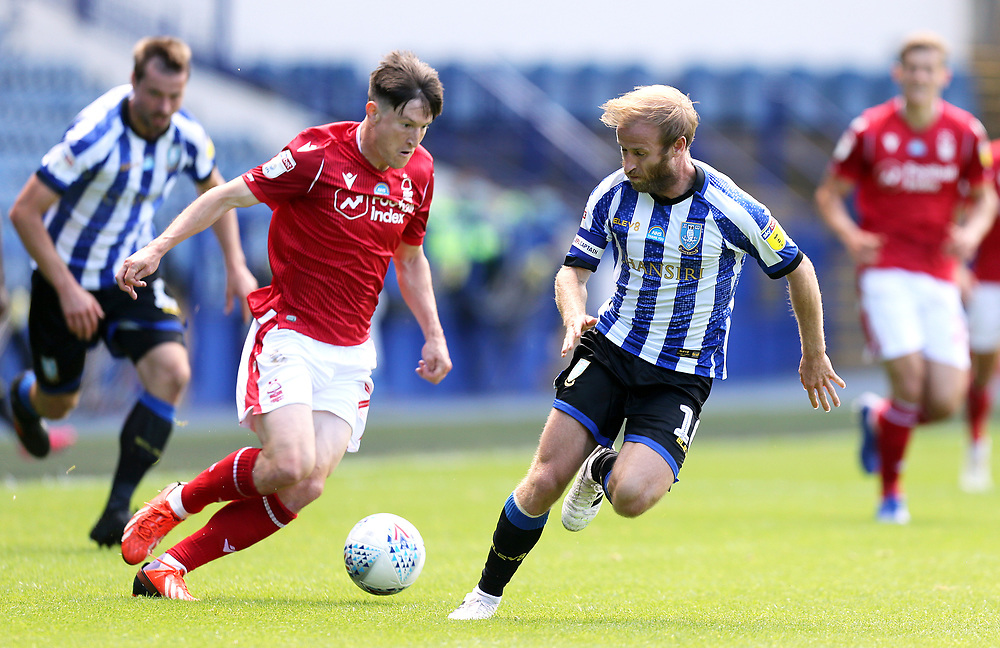 Nottingham Forest's Liam Bridcutt looks to run past Sheffield Wednesday's Barry Bannan <br /> <br /> Photographer Rich Linley/CameraSport<br /> <br /> The EFL Sky Bet Championship - Sheffield Wednesday v Nottingham Forest - Saturday 20th June 2020 - Hillsborough - Sheffield <br /> <br /> World Copyright © 2020 CameraSport. All rights reserved. 43 Linden Ave. Countesthorpe. Leicester. England. LE8 5PG - Tel: +44 (0) 116 277 4147 - admin@camerasport.com - www.camerasport.com