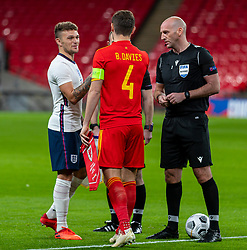 LONDON, ENGLAND - Thursday, October 8, 2020: England's captain Kieran Tripper shakes hands with his fromer Tottenham Hotspur team-mate Wales' captain Ben Davies before the International Friendly match between England and Wales at Wembley Stadium. The game was played behind closed doors due to the UK Government's social distancing laws prohibiting supporters from attending events inside stadiums as a result of the Coronavirus Pandemic. England won 3-0. (Pic by David Rawcliffe/Propaganda)