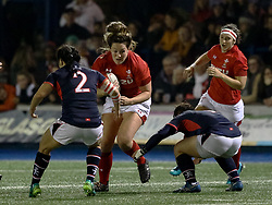 Cerys Hale of Wales Women lines up Dr Karen SO of Hong Kong<br /> <br /> Photographer Simon King/Replay Images<br /> <br /> Friendly - Wales Women v Hong Kong Women - Friday  16th November 2018 - Cardiff Arms Park - Cardiff<br /> <br /> World Copyright © Replay Images . All rights reserved. info@replayimages.co.uk - http://replayimages.co.uk