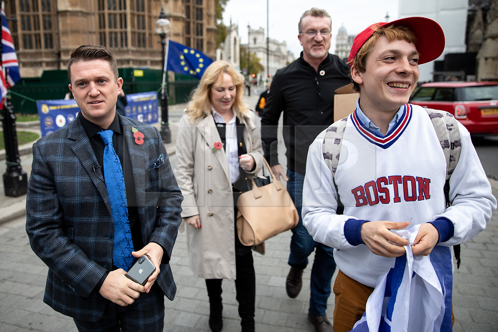 © Licensed to London News Pictures. 06/11/2018. London, UK. NOTE: FILE PHOTO. Max Hammet-Millay (right) pictured walking with Tommy Robinson (left) and Janice Atkinson MEP (centre) in November. Hammet-Millay has been accused of being part of the group calling Conservative MP Anna Soubry a 'Nazi' on Monday this week. [ORIGINAL CAPTION: Stephen Yaxley-Lennon, also known as Tommy Robinson, seen in Westminster talking to pro-Trump supporters and anti-Brexit demonstrators.] Photo credit : Tom Nicholson/LNP
