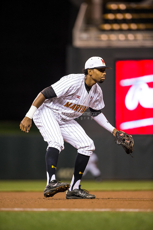 Jose Cuas (12) of the Maryland Terrapins fields during a 2015 Big Ten Conference Tournament game between the Maryland Terrapins and Michigan State Spartans at Target Field on May 20, 2015 in Minneapolis, Minnesota. (Brace Hemmelgarn)