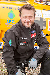 Nick Hancock with his Rock Pod, at the Edinburgh International Climbing Arena, in practise his 60 day Rockall Solo 2014 endurance expedition. Nick will use the Rock Pod, a modified plastic water tank, to live for two months on Rockall, a uninhabited remote granite islet, hundreds of miles off Scotland in the north Atlantic, in order to raise funds for Help for Heroes.