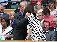Tennis - 2017 Wimbledon Championships - Week One, Monday [Day One]<br /> <br /> Men's Singles, First Round<br /> <br /> Andy Murray (GBR) vs. Alexander Bublik (Kazakhstan)<br /> <br /> HRH Prince Michael of Kent greets HRH The Duchess of Cambridge (Kate) into the Royal box on Centre Court.<br /> <br /> COLORSPORT/ANDREW COWIE