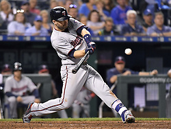 September 7, 2017 - Kansas City, MO, USA - The Minnesota Twins' Brian Dozier connects on a sacrifice fly in the ninth inning to score Max Kepler against the Kansas City Royals at Kauffman Stadium in Kansas City, Mo., on Thursday, Sept. 7, 2017. The Twins won, 4-2. (Credit Image: © John Sleezer/TNS via ZUMA Wire)