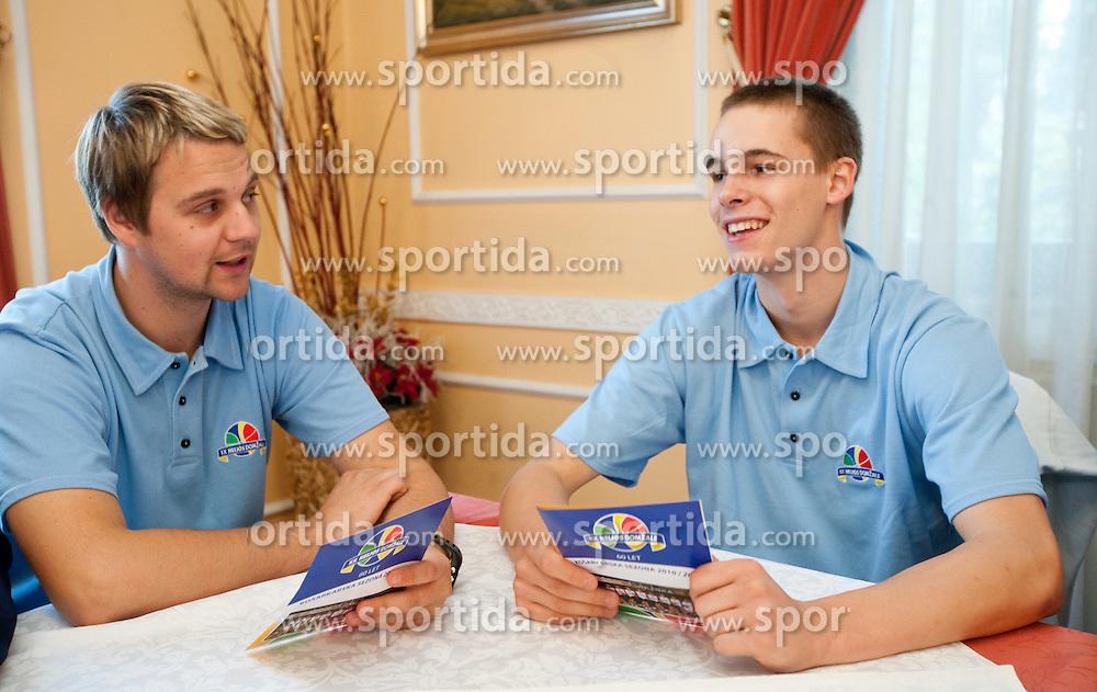 Nejc Borovnik and Klemen Prepelic during press conference of basketball team KK Helios Domzale before new season 2010-2011, on September 27, 2010 in Domzale, Slovenia. (Photo By Vid Ponikvar / Sportida.com)