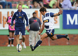 Lionel Cronje of the DHL Stormers converts a try during the final warm-up match before the start of the Super Rugby season between the DHL Stormers and the Boland Cavaliers held at DHL Newlands Stadium in Cape Town, South Africa on 12 February 2011. Photo by Jacques Rossouw/SPORTZPICS