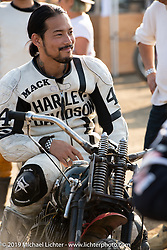 "Mack (Masahiro Okinawa) on his 1942 Harley-Davidson 45"" WLA racer at the Okie Dokie Vintage Races put on by Go Takamine's Brat Style at West Point Off-Road Village, Kawagoe, Saitama, Japan. Tuesday, December 4, 2018. Photography ©2018 Michael Lichter."