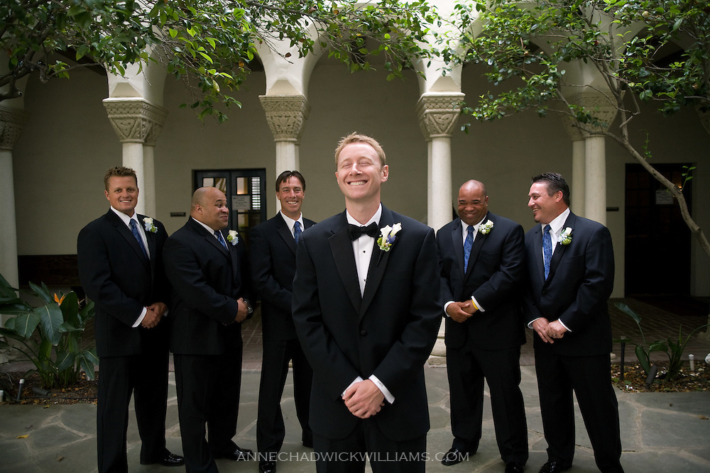 A groom and his groomsmen before the wedding at Westminster Presbyterian Church in Sacramento, California.