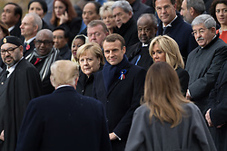 German Chancellor Angela Merkel, Emmanuel Macron and Brigitte Macron and U.S. President Donald Trump and first lady Melania Trump.<br /> French President Emmanuel Macron and Brigitte Macron, German Chancellor Angela Merkel, U.S. President Donald Trump, first lady Melania Trump, Morocco's King Mohammed VI, Russian President Vladimir Putin, Australian Governor-General Peter Cosgrove attend a commemoration ceremony for Armistice Day, 100 years after the end of the First World War at the Arc de Triomphe.<br /> Paris,FRANCE-11/11/2018 Photo by Jacques Witt/pool/ABACAPRESS.COM