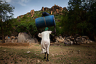 A woman carries supplies up to a cave where she was forced to live after her villaged was bombed. Thousands of people have fled to caves to live after repeated bombing attacked by Sudan government forces on civilians areas.
