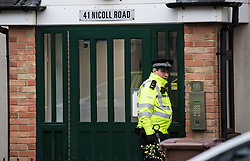 © Licensed to London News Pictures. 18/04/2020. London, UK.  Police at a block of residential apartments on Nicoll Road in Harlesden, North West London, where a man in his 40's was found inside a home with gunshot injuries. Photo credit: Ben Cawthra/LNP