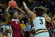 March 18, 2016; Tempe, Ariz;  New Mexico State Aggies guard Sasha Weber (4) looks to pass to a teammate during a game between No. 2 Arizona State Sun Devils and No. 15 New Mexico State Aggies in the first round of the 2016 NCAA Division I Women's Basketball Championship in Tempe, Ariz. The Sun Devils defeated the Aggies 74-52.