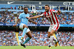 Raheem Sterling of Manchester City and Erik Pieters of Stoke City - Mandatory by-line: Matt McNulty/JMP - 14/10/2017 - FOOTBALL - Etihad Stadium - Manchester, England - Manchester City v Stoke City - Premier League