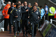 Pep Guardiola, the Manchester city manager © arrives at the stadium with his back room staff. EFL Cup. 3rd round match, Swansea city v Manchester city at the Liberty Stadium in Swansea, South Wales on Wednesday 21st September 2016.<br /> pic by  Andrew Orchard, Andrew Orchard sports photography.