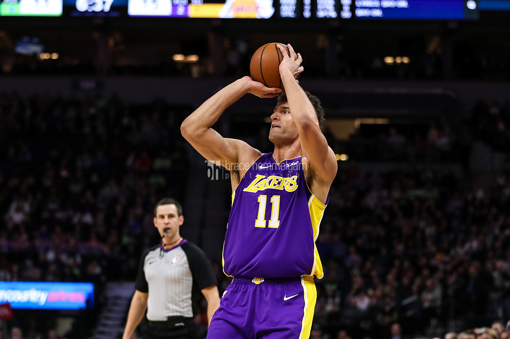 Feb 15, 2018; Minneapolis, MN, USA; Los Angeles Lakers center Brook Lopez (11) during a game between the Minnesota Timberwolves and Los Angeles Lakers at Target Center. Mandatory Credit: Brace Hemmelgarn-USA TODAY Sports