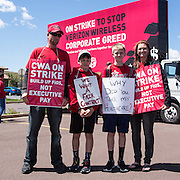 This family spent Mother's Day picketing at a Verizon Wireless store near Bloomsburg, Pennsylvania.