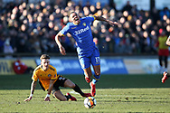 Jay -Roy Grot of Leeds Utd tries to break away from a tackle from Ben White of Newport county. Emirates FA Cup , 3rd round match, Newport county v Leeds Utd at Rodney Parade in Newport, South Wales on Sunday 7th January 2018.<br /> pic by Andrew Orchard,  Andrew Orchard sports photography.