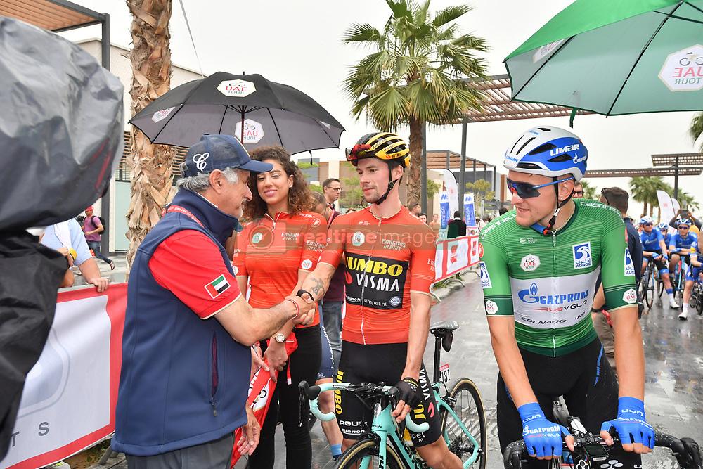 March 1, 2019 - Emirati Arabi Uniti - Foto LaPresse - Massimo Paolone.1 Marzo 2019 Emirati Arabi Uniti.Sport Ciclismo.UAE Tour 2019 - Tappa 6 - da Ajman a Jebel Jais - 180 km.Nella foto: Saeed Hareb con Primoz Roglic (Team Jumbo - Visma) ..Photo LaPresse - Massimo Paolone.March 1, 2019 United Arab Emirates.Sport Cycling.UAE Tour 2019 - Stage 6 - Ajman to Jebel Jais - 111,8 miles.In the pic: Saeed Hareb with Primoz Roglic  (Credit Image: © Massimo Paolone/Lapresse via ZUMA Press)